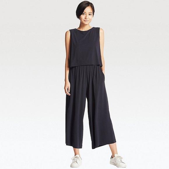 e53fdc8a1b27 Uniqlo Culotte Pant Black Jersey Jumpsuit. M 5b996b313c984495d3eb4c72